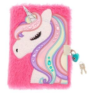 NWT Claire's Plush Pink Unicorn🦄 diary with lock
